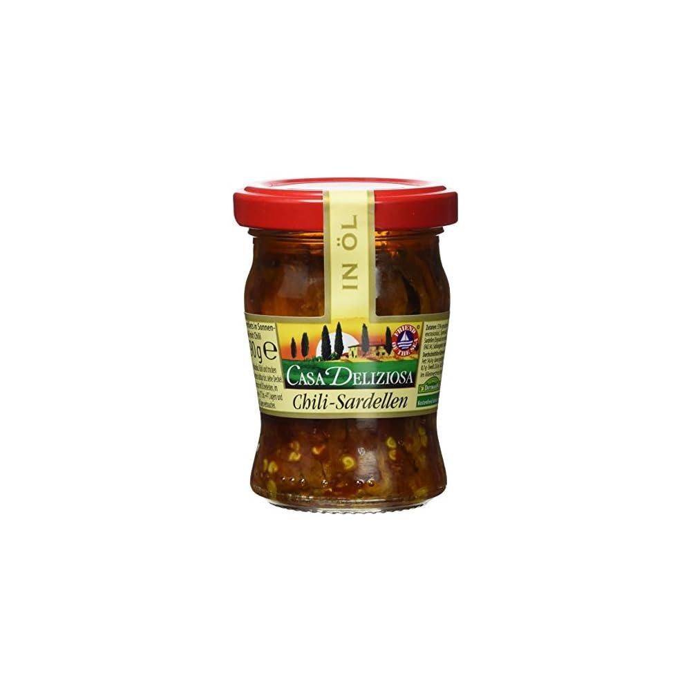 Casa Deliziosa Sardellenfilets In Sonnenblumenl Mit Chili Glas 2er Pack 2 X 90 G