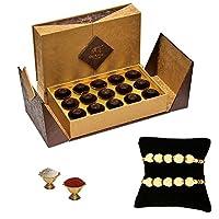 De'Arco Chocolatier Premium Luxurious Rakhi Gift Chocolate Box, Dark Chocolate Gift Hamper for Brother, 15pcs + Free 2 Rakhi + Free Roli Chawal