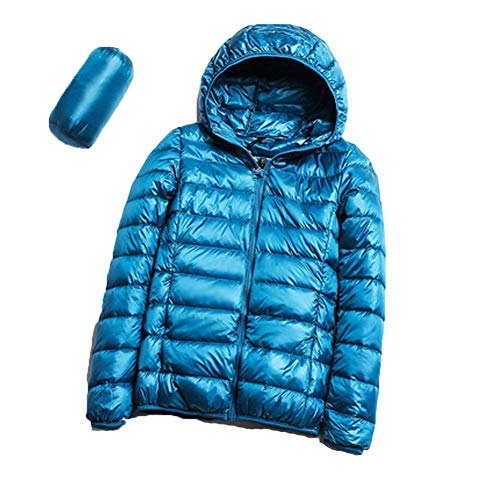 Womens Winter Coat, S.CHARMA Plus Size Lightweight Packable Oversize Short Warm Hooded Down Jacket for Women Ladies Daily Travel Wear Casual Stylish Lake Blue