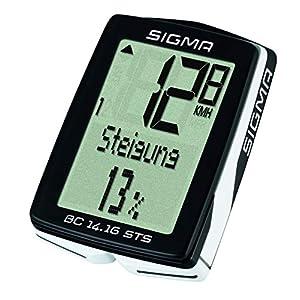 Sigma Sport Fahrrad Computer BC 14.16 STS, 14 Funktionen, Höhenmessung, Kabelloser Farradtacho, Schwarz