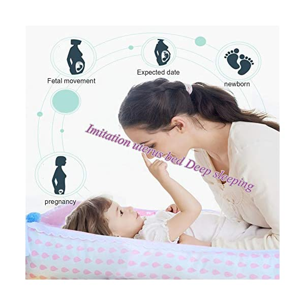 YANGGUANGBAOBEI Baby Lounger,for Newborn,100% Cotton Newborn Portable Bassinet Crib,(0-24months),Snuggly Soft Sleeping Pillow,Q YANGGUANGBAOBEI [Safe Sleep and Comfortable Bionic Bed]: Your child will feel comfortable and safe on our soft baby lounger. Such a safe sleeper can help the baby enjoy deep and beautiful sleep, and help solve common newborn sleep problems. [Low-energy Materials, Breathable and Non-toxic]: We use 100% cotton fabric and breathable, hypoallergenic internal fillers, which are safe for Sensitive skin of a baby. It will let your children sleep peacefully in their lovely sleeping cribs. [Versatile]: Use baby recliner as a cradle bed, side bed, travel bed, newborn pillow, change station or move around the house to rest or abdomen time, making the baby feel safer and more comfortable. 3