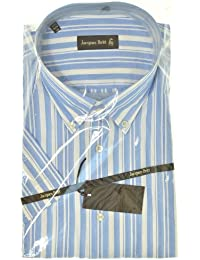 Jacques Britt - Herrenhemd - Hemd Kurzarm Vollschnitt - blau-weiß gestreift - Button down