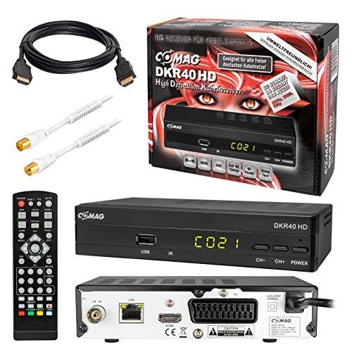 Kabel Receiver Kabelreceiver – DVB-C HB-DIGITAL SET: COMAG DKR40HD HD Receiver für digitales DVB-C Kabelfernsehen (HDMI, SCART, USB 2.0, Coaxial S/PDIF, Mediaplayer) + 1m HDTV Antennenkabel vergoldet mit Mantelstromfilter weiß + HDMI Kabel