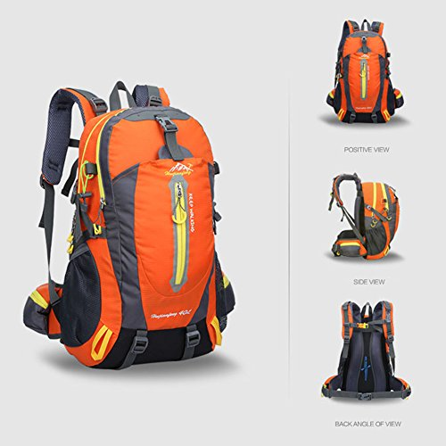 Waterproof Rucksack, 40L Nylon Bag Backpack Flexibilität ist stark Adjustable Breathable Shoulder Perfect for Hiking, Sports, Hiking, Camping, Travelling, Hiking, Climbing, with laptop compartment Orange