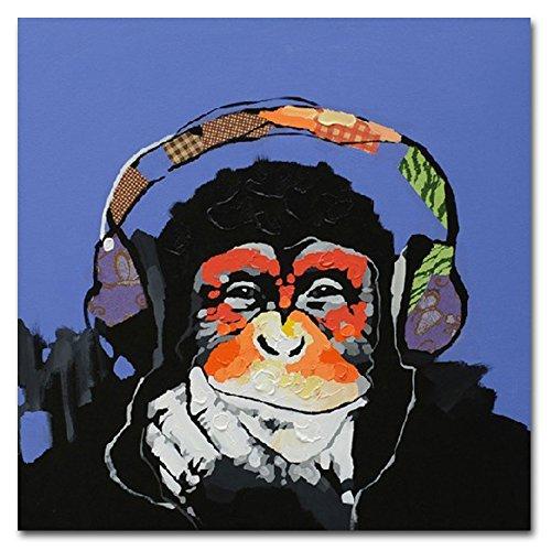 Fokenzary Handgemaltes ÖLgemälde Auf Leinwand, Pop Art, Motiv: Putziger Schimpanse Hört Musik Mit Kopfhörer, Mit Rahmen, Fertig Zum Aufhängen., Canvas, 32x32in
