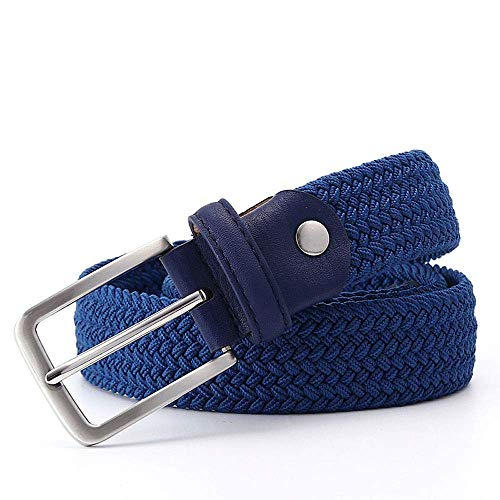 aoliaoyudonggha Men Stretch Waist Canvas Braided Elastic Woven Leather Belt Wide Metal Belts Braided Thong