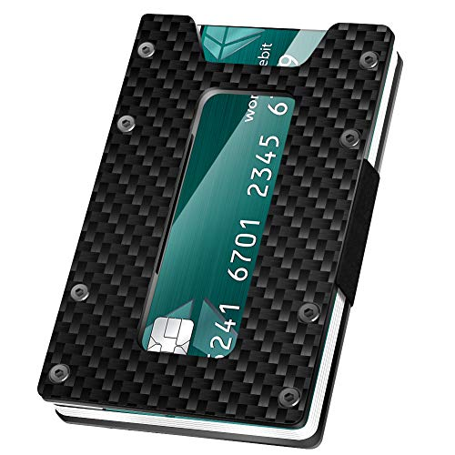Minimalistische Karbonfaser-Geldbörse, Kreditkartenhalter, Geldclip und Münzbox, schmale Vordertasche, RFID-blockierend, Geldbörse für Damen und Herren