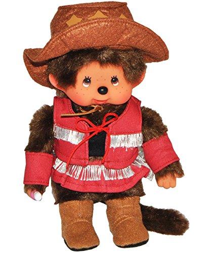 Unbekannt Monchhichi - Mädchen als Cowboy Western Girl - 20 cm - Zöpfe Monchichi Bekleidung Reiterin Stiefel Hut (Kid Boutique Kleidung)