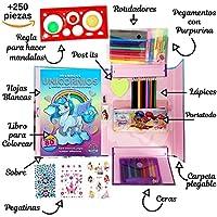AlmaSoul Set para colorear para niñas - con rotuladores - lápices de colores - ceras de colores - pegatinas - purpurina y un libro para colorear dibujos de ...
