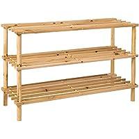 Home Vida 3 Tier Slated Wood Storage Organiser Shoe Stand Rack, Natural Free Delivery