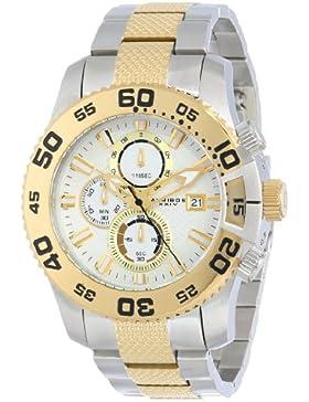 Akribos XXIV Herren Eroberer Chronograph Weiß Zifferblatt silberfarbenes und goldfarbene Edelstahl Armband Armbanduhr