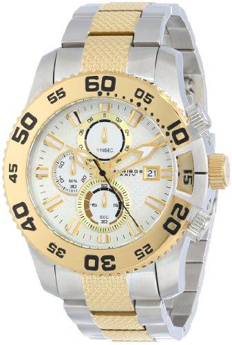 Akribos XXIV Conqueror Cronografo da uomo, colore: bianco, argento e oro, orologio, in acciaio INOX
