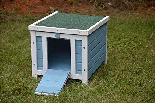BUNNY BUSINESS - Casa de Madera para Gatos, Cachorros, Conejos, cobayas, 51 x 44 x 42 cm, Color Azul