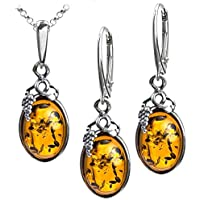Honey Amber Sterling Silver Classic Small Grape Leaves Pendant Necklace 46 cm AtHV8Q7T