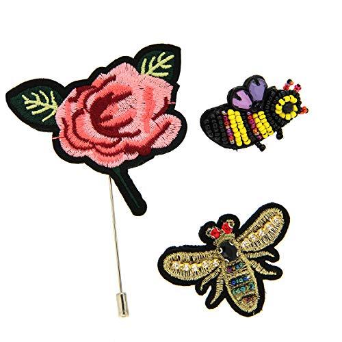 Sweet Deluxe Broschen Set Rose/Bienen I ausgefallene Blusenbrosche für Damen & Mädchen I Frauen-Brosche für Abendkleid & Bluse I Anstecknadel