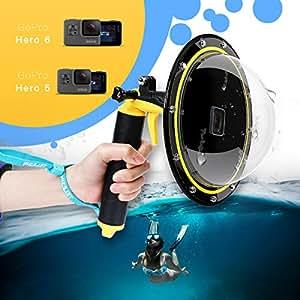 TELESIN Gopro Dome Port, Custodia impermeabile 6 pollici con galleggiante Impugnatura compatibile con GoPro Hero 6/5 TM051