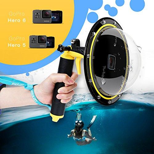 Galleria fotografica TELESIN Gopro Dome Port, Custodia impermeabile 6 pollici con galleggiante Impugnatura compatibile con GoPro Hero 6/5 TM051