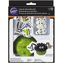 """Wilton Back-Dekoset """"Spider"""" - Muffinformen, Zierfähnchen als Spinnenbeine, Zuckeraugen-Streusel - Halloween"""