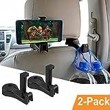 Gancio Poggiatesta Auto, OCUBE 2 in 1 Gancio per auto con il supporto del telefono(2pz), gancio per auto Sedile Posteriore gancio per Borsa Abbigliamento Bagagli (Nero)