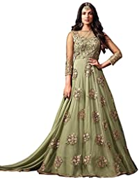 Like A Diva Designer Net Anarkali Suit With Floral Embroidery In Nile Green For Women