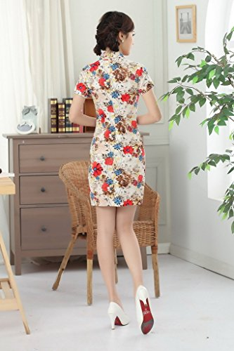 Bigood Cheongsam Chinois Femme Robe Eté Manche Courte Casual Soirée Multicolore
