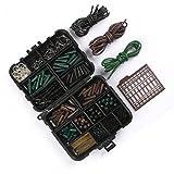 CFtrum 120 pcs/mangas Set Kit de aparejos de pesca de carpas con emerillones/ganchos//tubos de goma/Clips de plomo/cuentas/Aparejos de Pelo/Cabello Extender Tapones Set