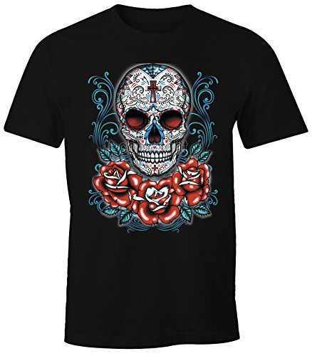 MoonWorks Herren T-Shirt - Muerte Day of Dead Totenkopf Rockabilly Sugar Skull Tattoo Blumen - Comfort Fit Schwarz XXL