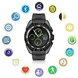 Montre Connectée Bluetooth,QIMAOO G5 Écran Tactile Smartwatch Sports Bracelet Connecté IP67 Imperméable à Eau avec Cardiofréquencemètre Podomètre Suivi de Sommeil Compatible avec Android IOS Smartphone(Noir+Noir)