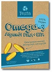 Es ist Omega-3, aber besser - viel gesünder als Fischöl - pflanzenbasiertes DHA und EPA aus Algenöl - Reines und Veganes Omega-3 - Testa Omega 3-60 Kapseln