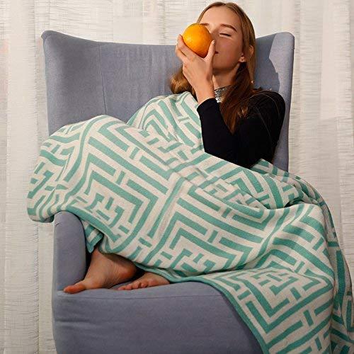 FuweiEncore Handtücher Stricken und Mittagessen Decken Decke Sommer Handtuch Menschen Decken Sofa Lounge hellblau hellgrün, 127X153cm 127X153cm, Decken (Größe : 127X153CM) - Stricken Lounge-set