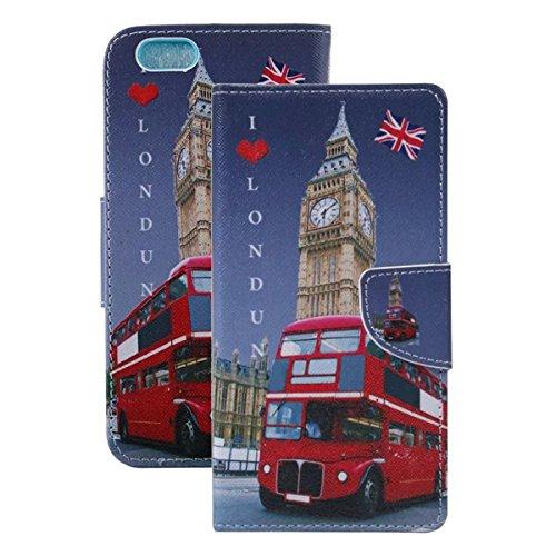 Etche Schutzhülle für iPhone 6S/6 4.7 Zoll Ledertasche,iPhone 6S/6 4.7 Zoll HandyHülle bunt Muster,iPhone 6S/6 4.7 Zoll wallet Schutzhülle, niedlich bunt kreativ hübsch Blumen Flip Cover PU Leder Case Bus