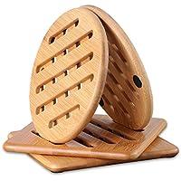 CONISY Antideslizante Natural Bambú Salvamanteles Vajilla Protección para Mesas de Cualquier Tipo - Juego de 4 Posavasos (15cm)