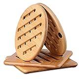 conisy Tischset Hitzebeständig, Natur waschbar Untersetzer Bambus Topflappen für Küche Schüssel Töpfe Pfannen und Teller - 4er Set Topfuntersetzer (2X rund und 2X quadratisch,15cm)