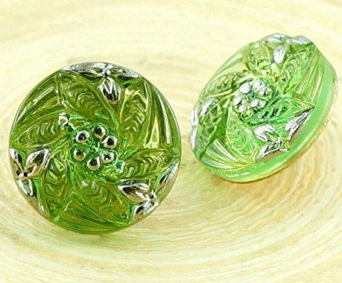 1pc Kristall Chrysolite Grün Silber Kleine Blume, Handgemachte Tschechische Glas-Knöpfe Größe 6, 13.5 mm (Kristall-knöpfe Kleine)