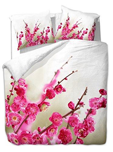 200x220 cm Bettwäsche mit 2 Kissenbezügen 80x80 3D Bettwäscheset Bettbezüge Microfaser Bettwäschegarnituren Reißverschluss Blume Blumen Blumenmuster Wisdom weiß beige pink Amarant