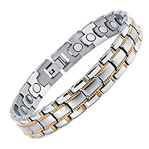 Rainso Mens Womens Titanium Magnetic Bracelet With Silver ...