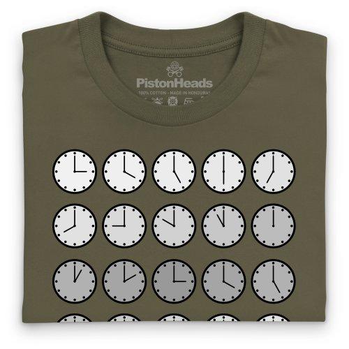 PistonHeads PHLM14 Clocks T-Shirt, Herren Olivgrn
