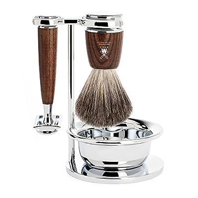 MÜHLE - 4-Pcs. Shaving Set Pure Badger Hair / Safety Razor - RYTMO Series - Handles Dark Ash Wood