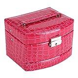 Caja de Joyería de 3 Capas con Espejo y Mango Caja Joyero para Collar Anillos Collar Broches Pulsera(Rose)