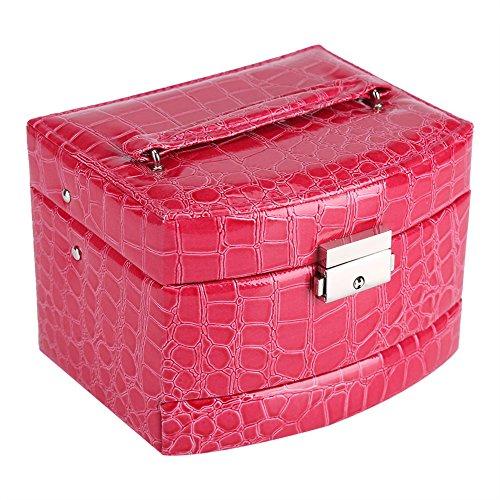 3 Capas Cajas para Joyas, joyero de viaje portátil con espejo Regalo de La Vendimia para Las Mujeres suministros para el Hogar(Rose Red)