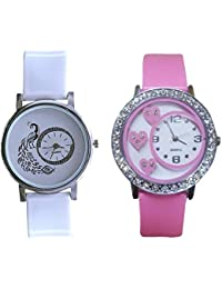 Gopal Shopcart Glory Pink White Peacock Beautiful Watches For Girls Pack Of 2 Watch Analog Watch - For Women