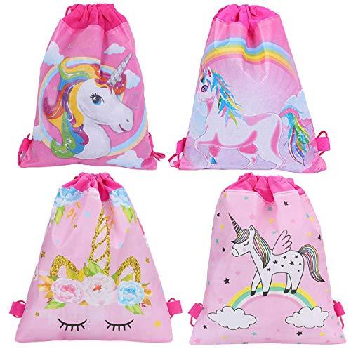 Unicornio Mochilas Petate 4 Pack Cordón Mochila Bolsas Infantiles para niños y niñas Deporte Gimnasio Backpack Regalos Detalles y Recuerdos para Invitados de Bodas, Comuniones, Cumpleaños