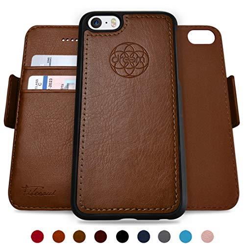 Dreem Fibonacci Brieftasche & Schutz-Hülle für iPhone 5/5s, magnetisch herausnehmbares TPU Case, dünn bruchfest, 2 Standfunktionen, hochwertige synthetische Leder-Tasche, RFID Schutz - Schokolade