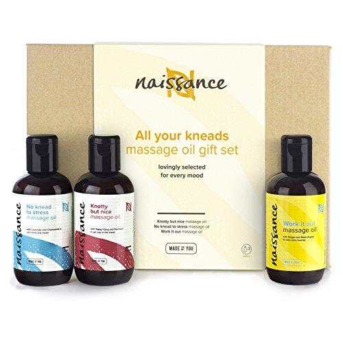 Naissance Coffret cadeau Sélection Huiles de Massage « All your Kneads » - (3 x 100ml) - huile relaxante, huile sensuelle, huile maux et douleurs - 100% naturelles