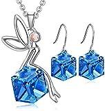 Set de joyería Hada swarovski Cristal Colgante corazón ,Collar de mujeres, Pendientes Colgante de conejo de cristal azul, Chapado en oro blanco, Regalo Colgante de angel