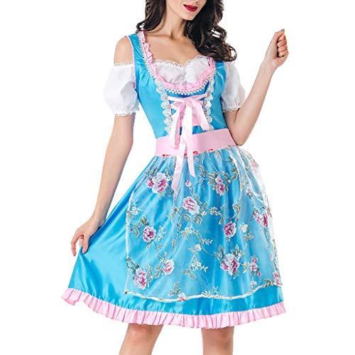 Damen Halloween Beer Festival Maid Dress,Halloween Oktoberfest Anime Cosplay Maid Schürze Kostüm,Vintage Pastoral Farm Stil Maskerade Performance Anzug Drama Beer Festival Dress Up (Blau, - Farm Mädchen Kostüm