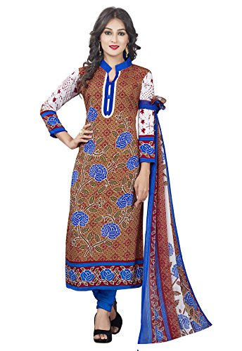 Ishin Synthetic Brown & Blue Party Wear Bollywood New Collection Printed Unstitched...