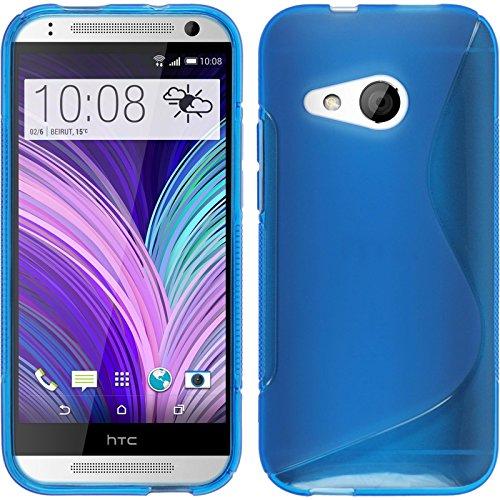 PhoneNatic Case kompatibel mit HTC One Mini 2 - blau Silikon Hülle S-Style + 2 Schutzfolien