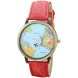 Mini World Unisex Wristwatch World Map Moving Aeroplane as a Second Hand, Analogue Quartz, Bronze Red