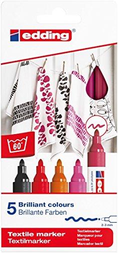 Edding 4500 Textil-Marker - 5er Set - warme Farben - Rundspitze 2-3 mm - zum Bemalen von Textilien (wie z.B. T-Shirts, Kissen, Beutel) - Textilfarbe waschmaschinenfest bis 60 Grad (Schwarz Permanent-textilfarbe)